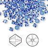 Bead, Swarovski crystal, sapphire, 4mm Xilion bicone (5328). Sold per pkg of 144 (1 gross).