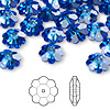 Bead, Swarovski crystal, sapphire, foil back, 10x3.5mm faceted marguerite lochrose flower (3700). Sold per pkg of 12.