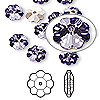 Bead, Swarovski crystal, tanzanite, foil back, 6x2mm faceted marguerite lochrose flower (3700). Sold per pkg of 12.