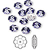 Bead, Swarovski crystal, tanzanite, foil back, 8x3mm faceted marguerite lochrose flower (3700). Sold per pkg of 12.