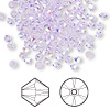 Bead, Swarovski crystal, violet AB, 3mm Xilion bicone (5328). Sold per pkg of 48.