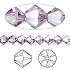 Bead, Swarovski crystal, violet satin, 6mm Xilion bicone (5328). Sold per pkg of 24.