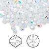 Bead, Swarovski crystal, white opal AB, 4mm Xilion bicone (5328). Sold per pkg of 1,440 (10 gross).