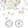 Bead, Swarovski crystal, white opal AB2X, 4mm Xilion bicone (5328). Sold per pkg of 48.