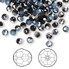 Bead, Swarovski crystal, white opal sky blue, 4mm faceted round (5000). Sold per pkg of 144 (1 gross).