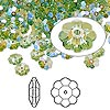 Bead, Swarovski crystal with third-party coating, Crystal Passions®, peridot glacier blue, 6x2mm faceted marguerite lochrose flower (3700). Sold per pkg of 12.