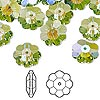 Bead, Swarovski crystal with third-party coating, Crystal Passions®, peridot glacier blue, 12x4mm faceted marguerite lochrose flower (3700). Sold per pkg of 12.