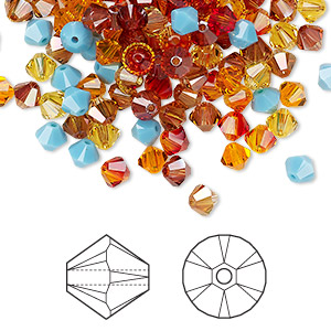 Bead, Swarovski® crystals, Crystal Passions®, Sonoran, 4mm Xilion bicone (5328) and faceted bicone (5301). Sold per pkg of 144 (1 gross).