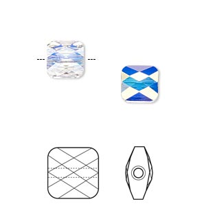 Bead, Swarovski® crystals, Crystal Passions®, crystal AB, 8x8mm faceted mini square (5053). Sold per pkg of 2.