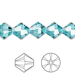 Bead, Swarovski® crystals, Crystal Passions®, light turquoise, 10mm Xilion bicone (5328). Sold per pkg of 2.