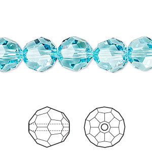 Bead, Swarovski® crystals, Crystal Passions®, light turquoise, 10mm faceted round (5000). Sold per pkg of 2.