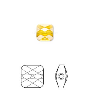 Bead, Swarovski® crystals, Crystal Passions®, sunflower, 8x8mm faceted mini square (5053). Sold per pkg of 2.
