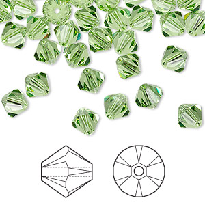 Bead, Swarovski® crystals, peridot, 6mm Xilion bicone (5328). Sold per pkg of 24.