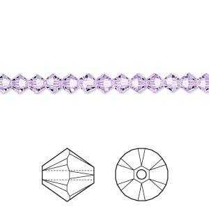 Bead, Swarovski® crystals, violet, 4mm Xilion bicone (5328). Sold per pkg of 48.