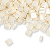 Bead, Tila®, glass, opaque ceylon antique ivory pearl, (TL592), 5x5mm square with (2) 0.8mm holes. Sold per 40-gram pkg.