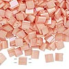 Bead, Tila®, glass, opaque luster rainbow light peach, (TL596), 5x5mm square with (2) 0.8mm holes. Sold per 40-gram pkg.