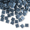 Bead, Tila®, glass, opaque matte gunmetal blue, (TL2001), 5x5mm square with (2) 0.8mm holes. Sold per 10-gram pkg.