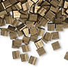 Bead, Tila®, glass, opaque matte metallic dark bronze, (TL2006), 5x5mm square with (2) 0.8mm holes. Sold per 40-gram pkg.
