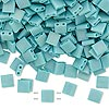 Bead, Tila®, glass, opaque matte rainbow mint green, (TL412FR), 5x5mm square with (2) 0.8mm holes. Sold per 10-gram pkg.