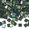 Bead, Tila®, glass, opaque metallic malachite green, (TL468), 5x5mm square with (2) 0.8mm holes. Sold per 10-gram pkg.