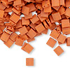 Bead, Tila®, glass, opaque satin matte dark orange, (TL2315), 5x5mm square with (2) 0.8mm holes. Sold per 40-gram pkg.