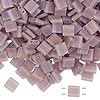 Bead, Tila®, glass, transparent matte rainbow light violet, (TL142FR), 5x5mm square with (2) 0.8mm holes. Sold per 10-gram pkg.