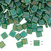 Bead, Tila®, glass, transparent matte rainbow pistachio, (TL146FR), 5x5mm square with (2) 0.8mm holes. Sold per 40-gram pkg.