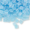 Bead, Tila®, glass, transparent matte rainbow powder blue, (TL148FR), 5x5mm square with (2) 0.8mm holes. Sold per 40-gram pkg.