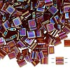 Bead, Tila®, glass, transparent rainbow root beer, (TL257), 5x5mm square with (2) 0.8mm holes. Sold per 40-gram pkg.