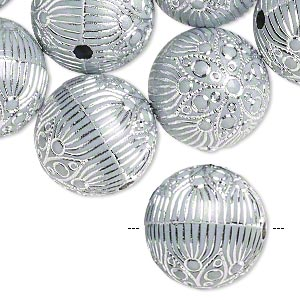 Bead, acrylic, grey and silver, 18mm round with flower and line design, 2.5mm hole. Sold per pkg of 24.
