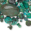 Bead and cabochon mix, turquoise (dyed / stabilized), 2-65mm mixed shape, B grade, Mohs hardness 5 to 6. Sold per 1/4 pound pkg, approximately 50-70 components.