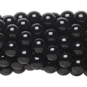 Bead, black obsidian (natural), 8mm round, C grade, Mohs hardness 5 to 5-1/2. Sold per pkg of (10) 16-inch strands.