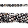 Bead, black silk stone (natural), 4mm round, C grade, Mohs hardness 4. Sold per pkg of (10) 16-inch strands.