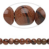 Bead, brown goldstone (manmade), 5-7mm hand-cut round. Sold per 14-inch strand.