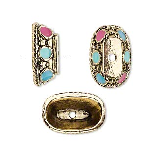 "Bead cap, antique gold-finished ""pewter"" (zinc-based alloy) and enamel, pink / turquoise blue / aqua blue, 19x12x7mm oval with dot and rope design, fits 22x18mm-30x22mm bead. Sold per pkg of 6."