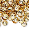 Bead cap, gold-plated brass, 9x2mm ribbed round, fits 9-11mm bead. Sold per pkg of 100.