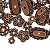 "Bead cap mix, antiqued copper-plated ""pewter"" (zinc-based alloy), 6x2mm-18x6mm mixed shapes. Sold per pkg of 50."