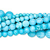 Bead, chalk turquoise (dyed / stabilized), blue, 3-8mm round, B grade, Mohs hardness 5 to 6. Sold per pkg of (10) 16-inch strands.