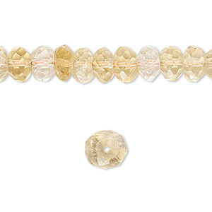 Bead, citrine (heated), 6x3mm-9x5mm hand-cut faceted rondelle, B- grade, Mohs hardness 7. Sold per 16-inch strand.