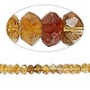 Bead, citrine (heated), shaded, 6x2mm hand-cut faceted rondelle, B- grade, Mohs hardness 7. Sold per 8-inch strand.