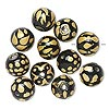 Bead, glass, opaque black with gold color, 12mm round with assorted designs. Sold per pkg of 12.