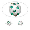 Bead, glass rhinestone and sterling silver, emerald green, 6mm satin round. Sold individually.
