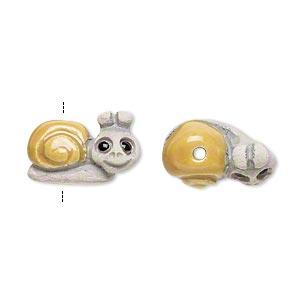 Bead, glazed ceramic, grey/tan/black, 17x12mm hand-painted snail. Sold per pkg of 2.
