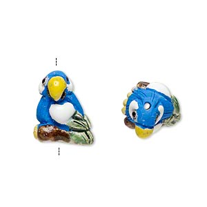 Bead, glazed ceramic, multicolored, 15x12mm hand-painted parrot. Sold per pkg of 2.
