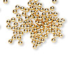 Bead, gold-plated brass, 3mm round. Sold per pkg of 1,000.