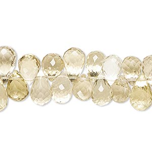 Bead, golden quartz (heated), 9x6mm-14x7mm hand-cut top-drilled faceted teardrop, B grade, Mohs hardness 7. Sold per 4-inch strand.