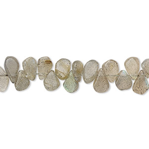 Bead, labradorite (natural), 6x4mm-8x5mm hand-cut top-drilled flat teardrop, B grade, Mohs hardness 6 to 6-1/2. Sold per 13-inch strand.
