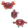 Bead, lampworked glass, semi-transparent red, 18x14mm crab. Sold per pkg of 4.