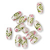 Bead, lampworked glass, transparent pink / green / opaque white, 18x8mm double cone with flower and leaves design. Sold per pkg of 12.