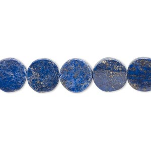 Bead, lapis lazuli (natural / dyed), 9-10mm hand-cut flat round, C grade, Mohs hardness 5 to 6. Sold per 13-inch strand.